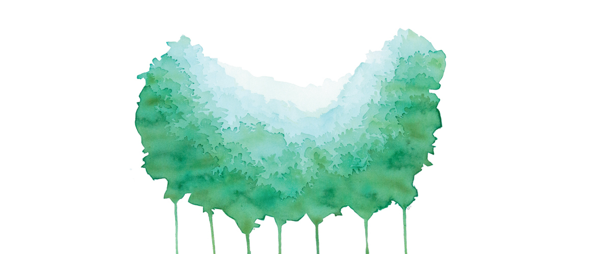 18x24 watercolor painting shapes of a green forest are seen in a splash of paint