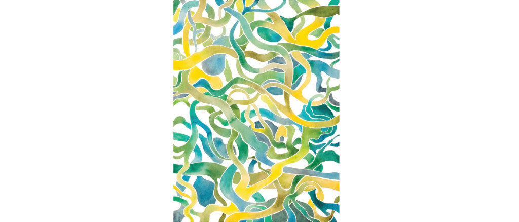 blue green yellow abstract watercolor by Rebekah Nicholas