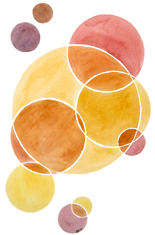 watercolor painting by Rebekah Nicholas of pink to tan blush colored circles intersecting each other