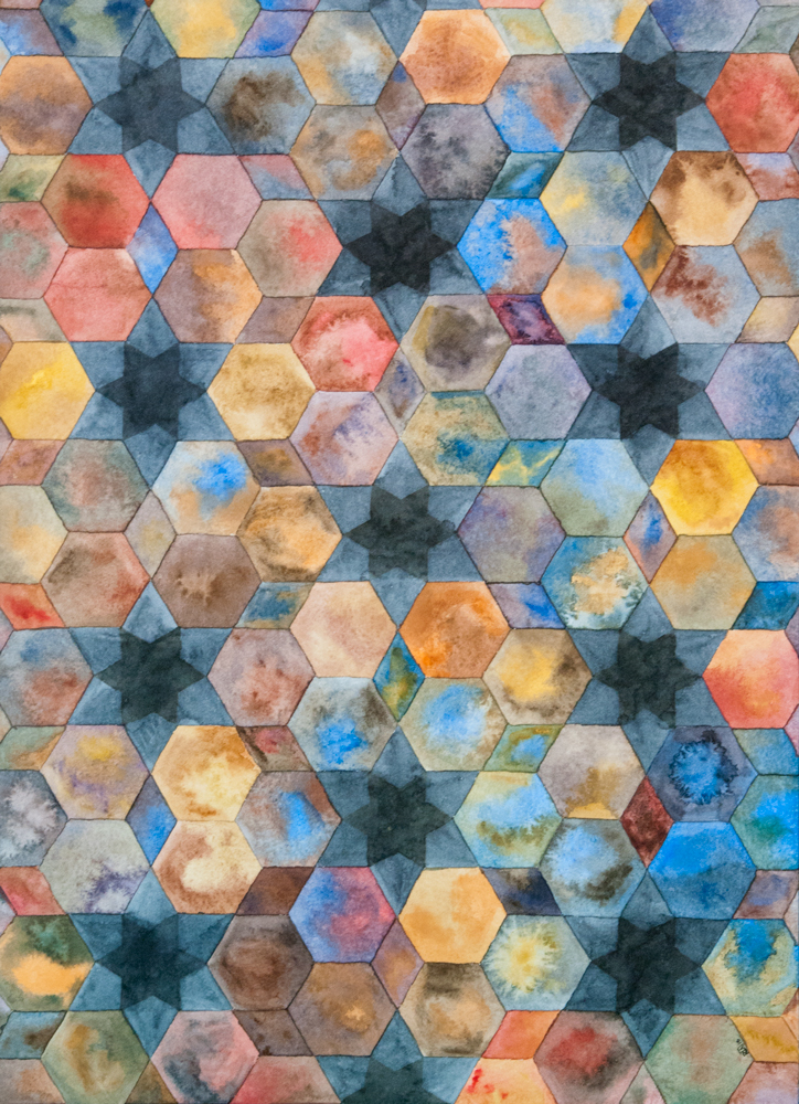 watercolor painting by Rebekah Nicholas geometric hexagons and star pattern in blue and reds